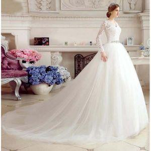 ROBE DE MARIÉE Manches longues robe de mariée dentelle col V Tail