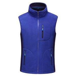 FEOYA Gilet en Polaire Douce Hiver Chaude Epaisse Vest Homme Femme Fermeture Eclaire Sobre Bleu Taille XXXL Automne Printemps Sports Running