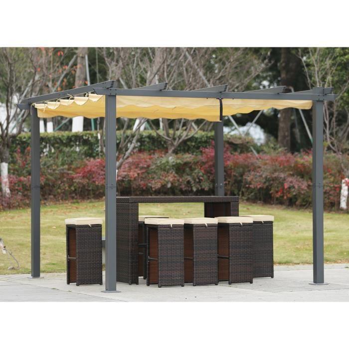 Angel Living Aluminium pergola tonnelle Parfait Pour Votre Terrasse,Toit Retractable,Toile Coulissante (3x3M)