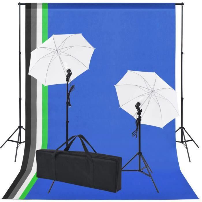 PAL Kit de studio photo 5 toiles de fond colorées et 2 ombrelles aluminium Lampes studio / flashs