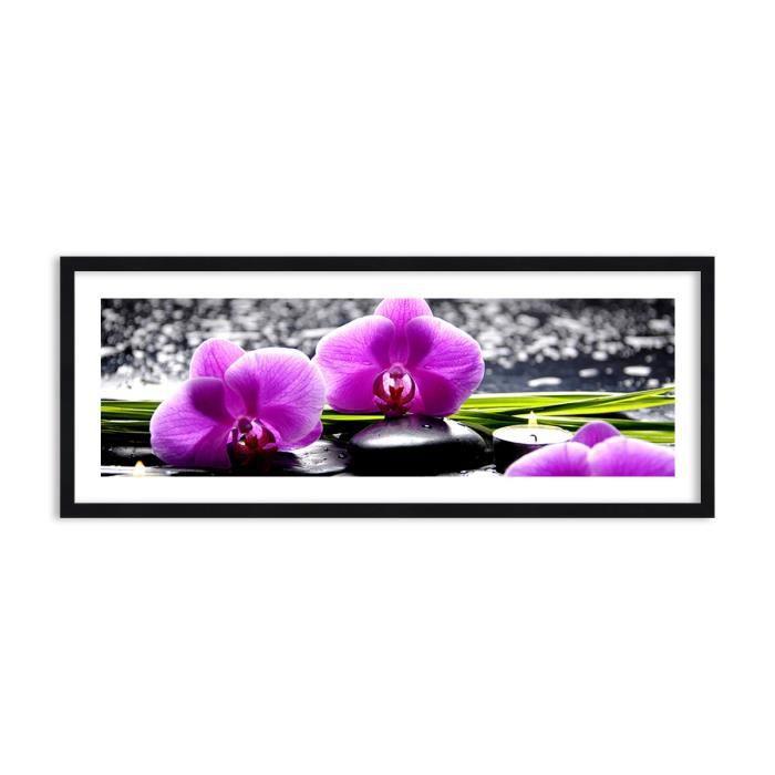 Image Impression sur toile 100x40 cm Orchidées pierres eau - Le Cadre couleur noire - pour la mur - F1BAB100x40-2658