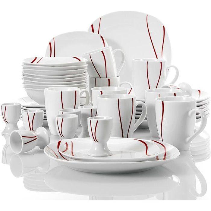 Malacasa FELISA 40 pièces Service Complet Porcelaine pour 8 Personnes Assiette Plate Dessert Bol Coquetier Mug