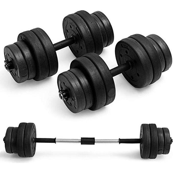 GOPLUS Lot de 2 Haltère de Musculation Poids Réglable,16 Disques (8 x 1,25KG + 8 x 2,5KG), Barre Allongeable,Poignée Antidérapante
