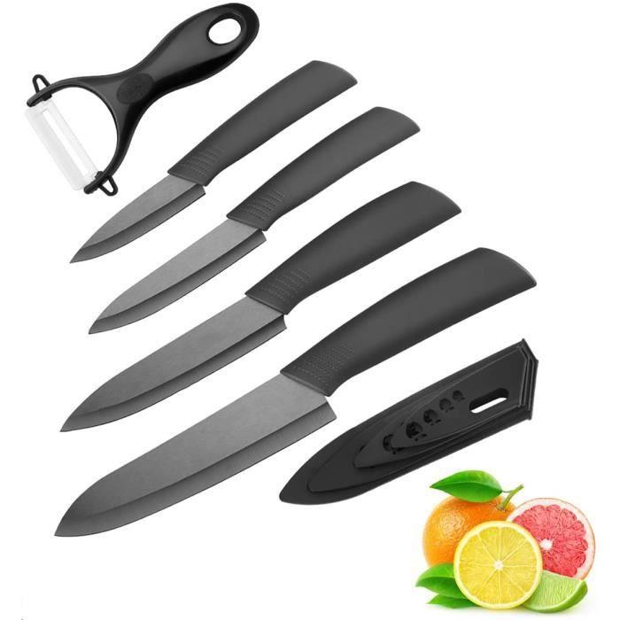 Couteau en céramique ,Ensembles de couteaux de cuisine Couteaux chef pour Couper Fruits Légumes Viande 5pcs Set – Noir