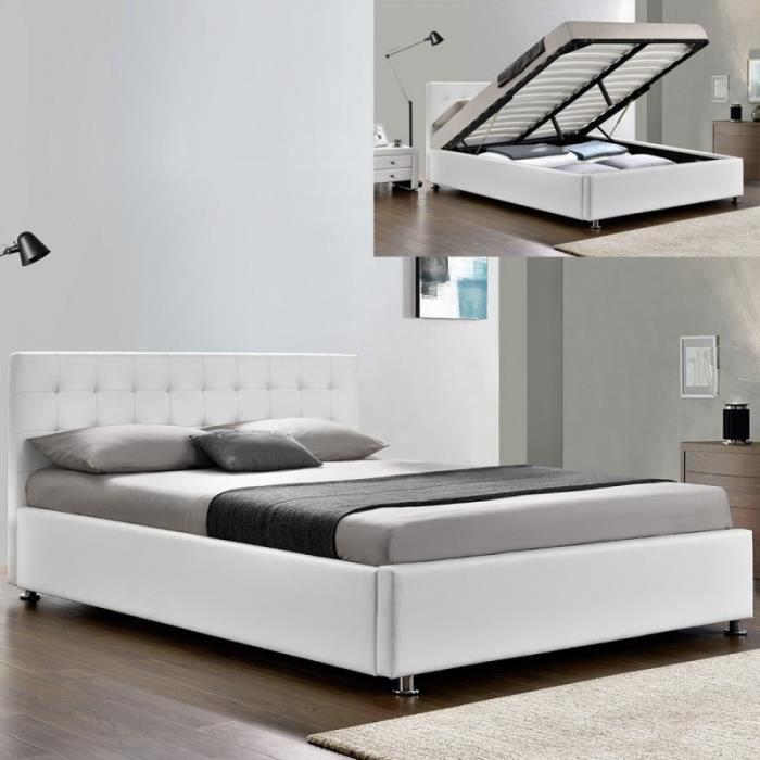 Lit complet sommier relevable + tête de lit + cadre de lit Capitole - Blanc - 140x190