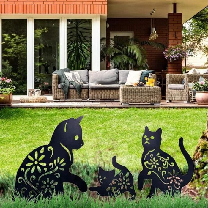 3 PCS Cat de Jardin Décoratifs Décor de Cour en Métal, Décoration Jardin Silhouette Exquise de Cat- Ornements de Pelouse