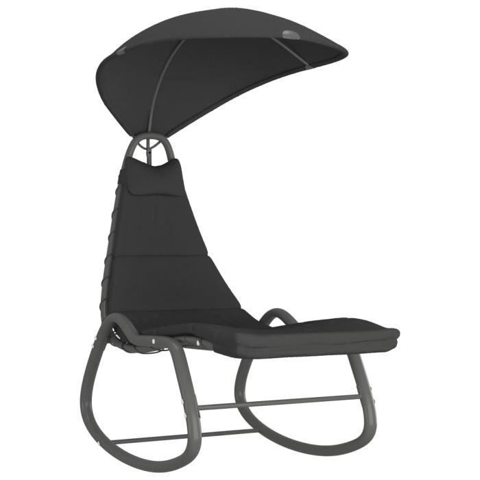 Balancelle de jardin- Grand Confort Toit balançoire exterieur terrasse balcon Noir 160x80x195 cm Tissu