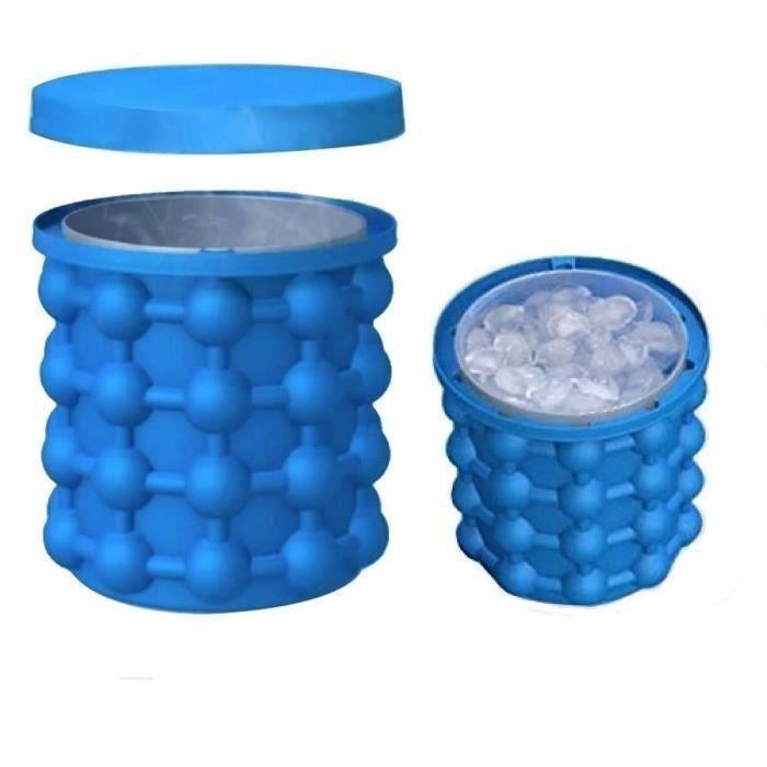 Bac à Glaçon ice cube maker genie Silicone Moules Seau à Glace Ice Cube Maker 2 en 1 @SHE