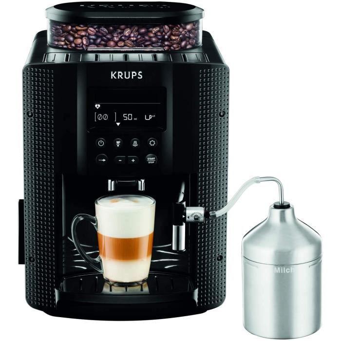 Krups Essential Machine à Café à Grain, Machine à Café, Broyeur Grain, Cafetière Expresso, Ecran LCD, Nettoyage Automatique, Buse Va