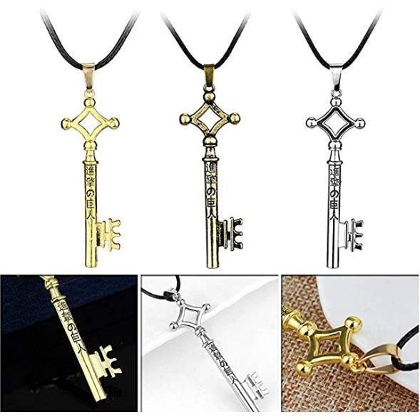 3Pcs Charm Attack Bijoux sur Titan Collier avec Pendentif Fantaisie Mode clés en métal Accessoires Ornement pour Unisexe