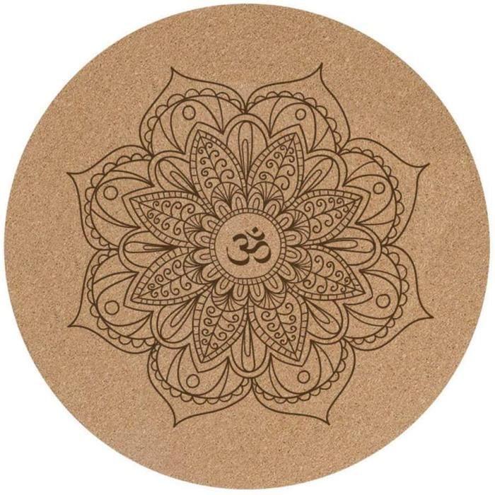 TAPIS DE YOGA Petit tapis de yoga rond en liegravege et caoutchouc antideacuterapant 60 x 60 cm x 3 mm292