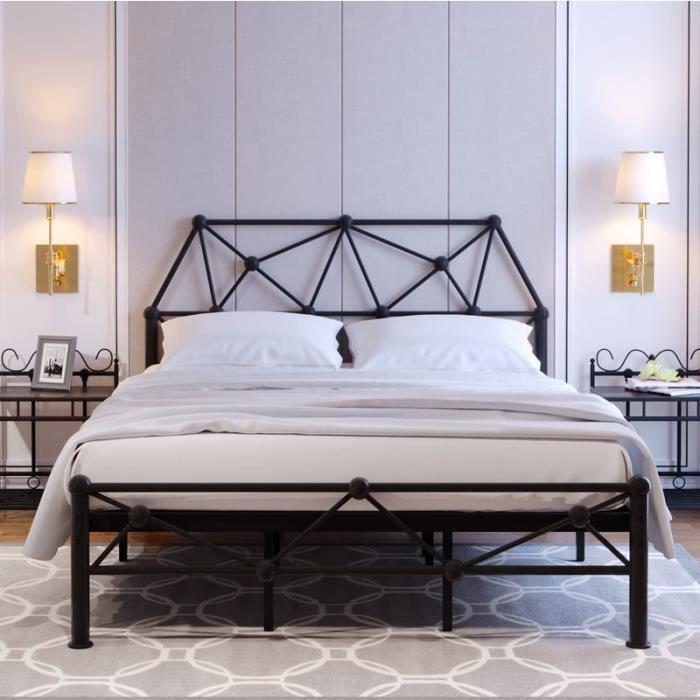 Lit double métal noir Lit simple en fer forgé Appartement Hôtel dortoir Lit double en fer 150 x 190cm