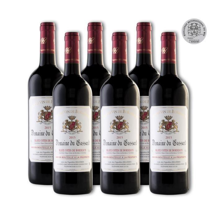 Lot de 6 Bouteilles - Vin Rouge Blaye Côtes de Bordeaux Domaine du Cassard - Cuvée Tradition- Médaille d'Argent