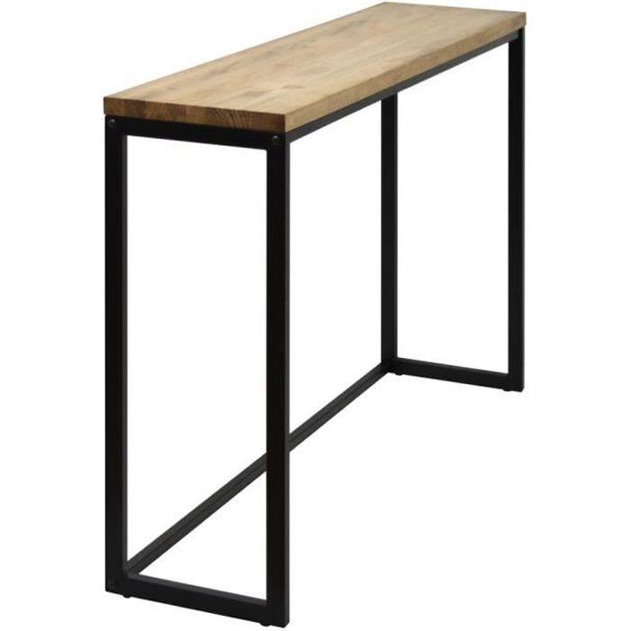 Table d'entree Console iCub Big Wood 100x30x80cm Noir bois 3cm finition vintage et acier style industriel