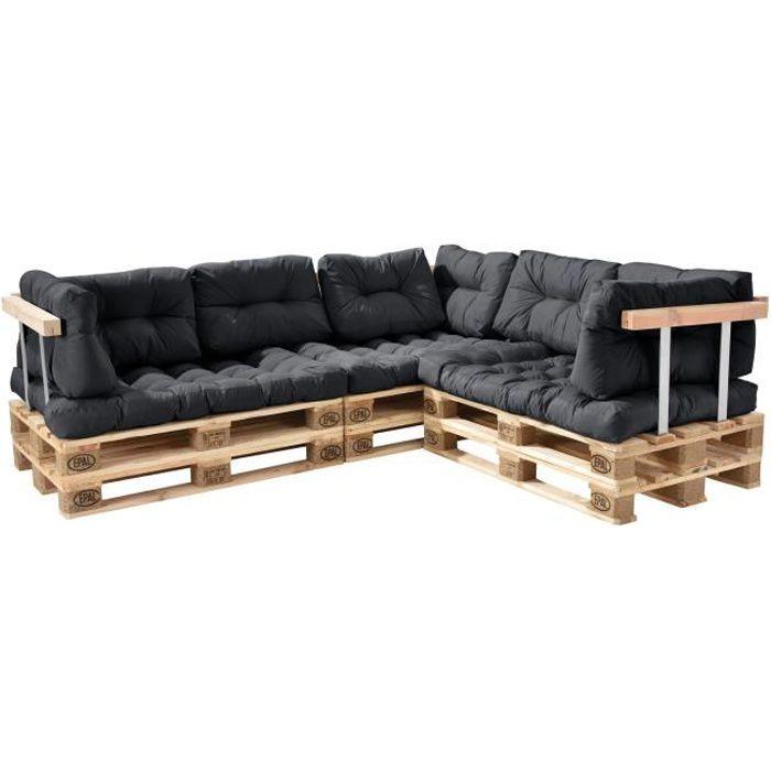 Canapé de palette euro- 5-siège avec coussins- [gris foncé] kit complète incl. dossier et appuie-bras