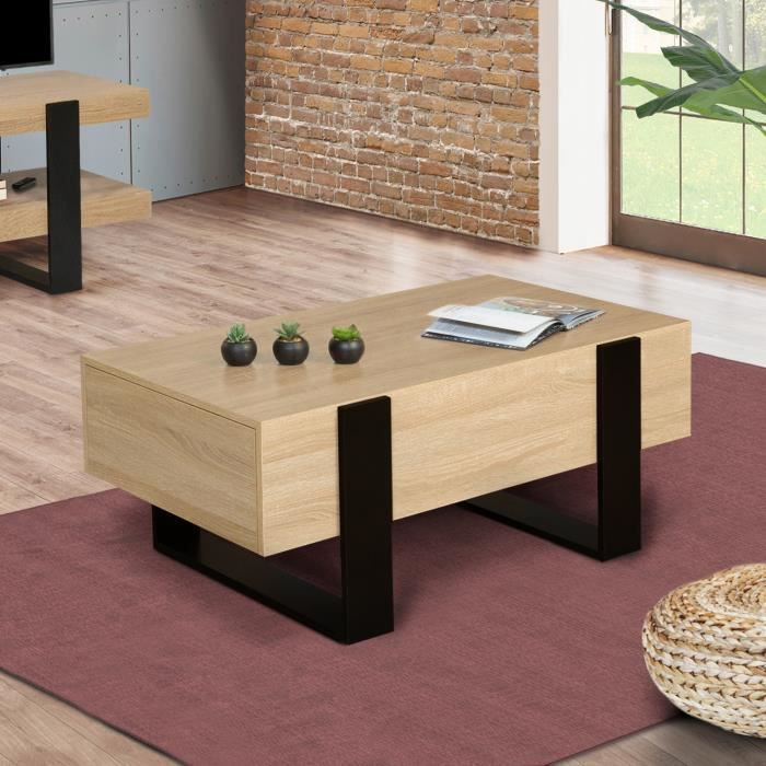 Table basse PHOENIX avec tiroirs 100 CM bois et noir
