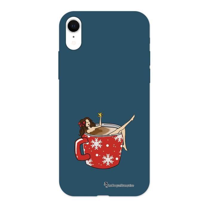 Coque iPhone Xr Silicone Liquide Douce bleu marine Chocolat Chaud Ecriture Tendance et Design La Coque Francaise.