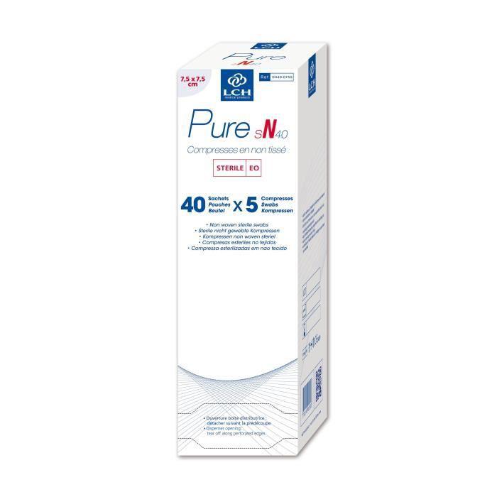 Lot de 20 boites de 200 Compresses PURE Non tissé stérile 40g - 7,5x7,5 cm - Boite de 40 sachets de 5 compresses