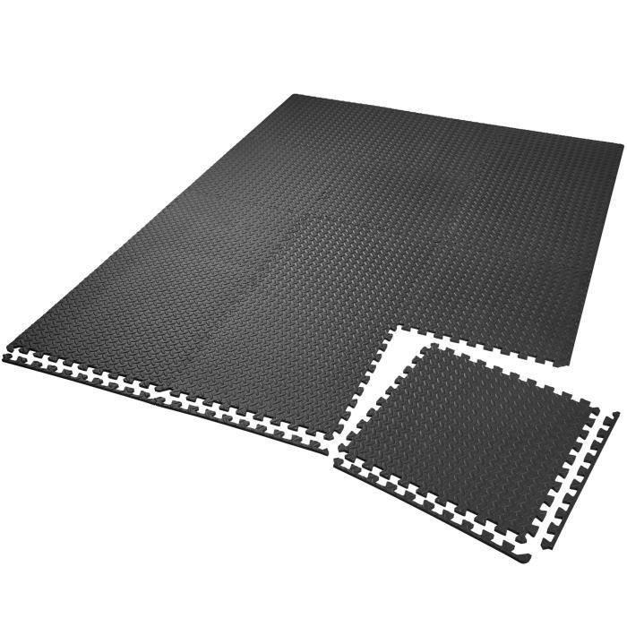 Ensemble de 12 Dalles Carrées EVA - Tapis de sol, Sport, Gymnastique, Yoga, Tapis Puzzle Antidérapant Mousse Noir 60 X 60 cm