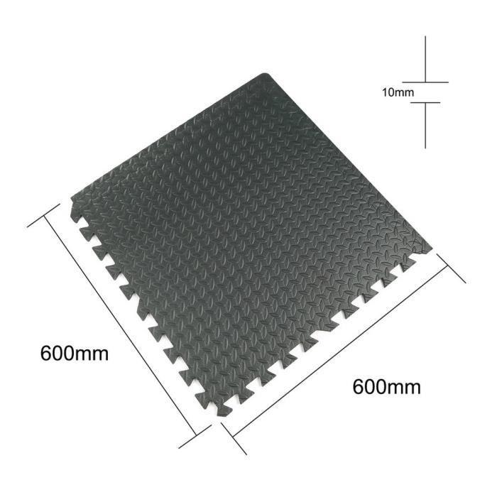 12x Tapis mousse de sol ensemble tapis puzzle fitness protection gym EVA 60cmx60cm(Noir)