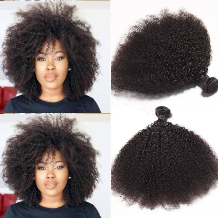 2 Tissage Cheveux Humains Bresilien Naturel Afro Kinky Curly Doux ,100grams/pieces