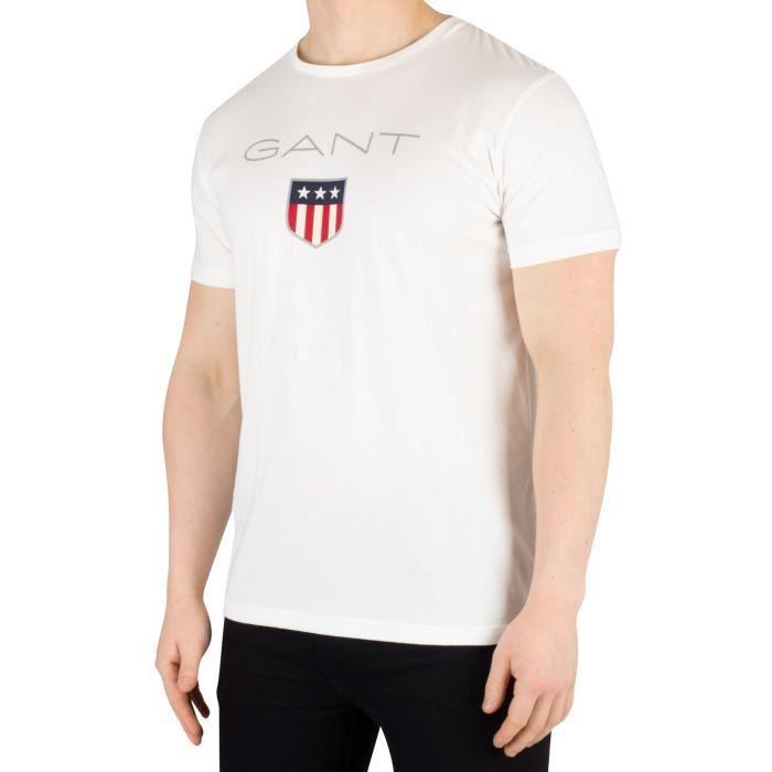 Gant Homme T-shirt avec logo de bouclier, Blanc