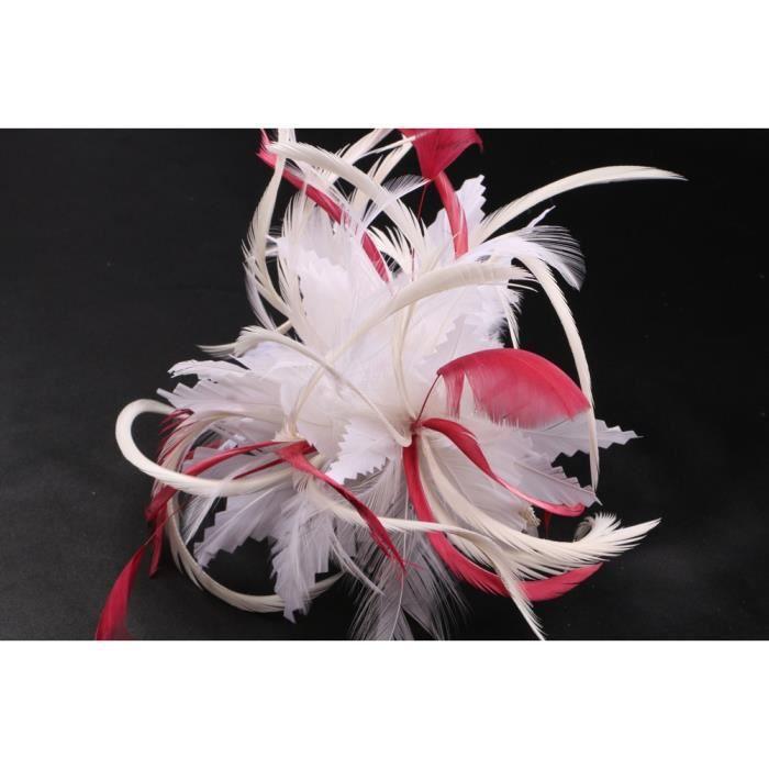 Coiffe mariée Cléa en plume écru et rouge