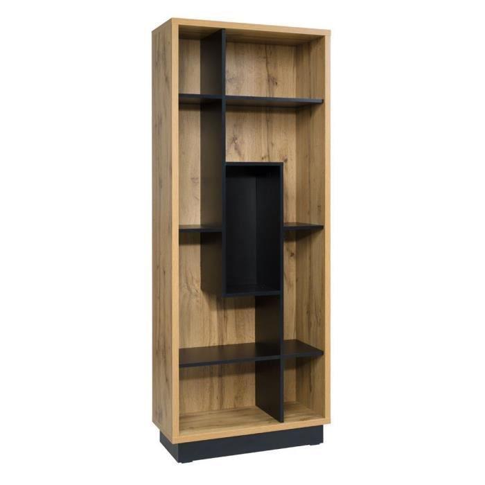 Vitrine ouverte, bibliothèque MALAGA. Meuble design et tendance pour votre salon. Idéal pour exposer votre décoration 35 Marron