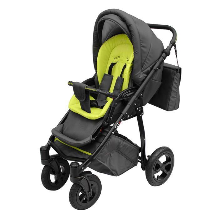 Poussette avec look sportif + accessoires & cadre en aluminium et roues gonflables bébé enfant GTr - Verte.
