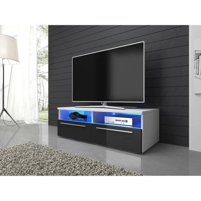 meuble tv armoire support vannes blanc mat noir brillant. Black Bedroom Furniture Sets. Home Design Ideas