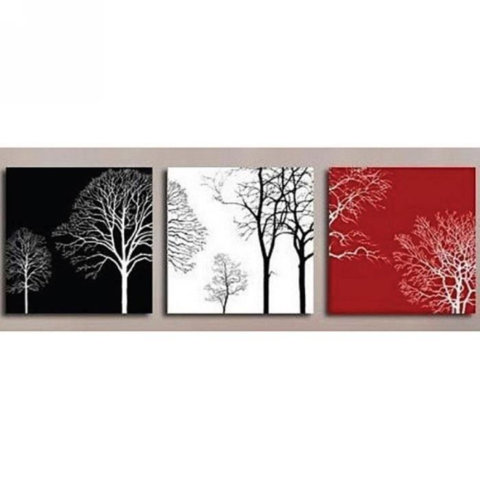 3pcs set tableau peinture huile toile art noir blanc rouge arbres fait main sans ch ssis sans. Black Bedroom Furniture Sets. Home Design Ideas