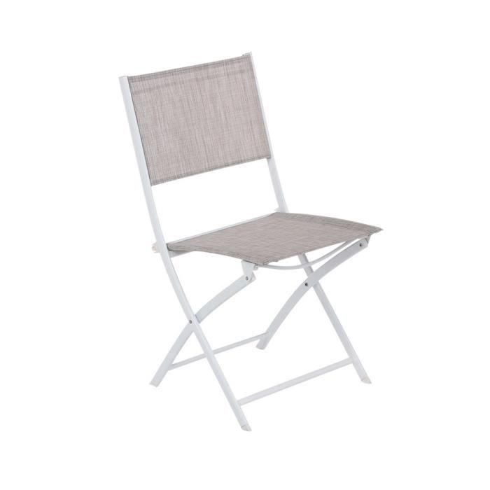 FAUTEUIL JARDIN CHAISE PLIANTE MODULA HESPRIDE TAUPE CHIN BLAN