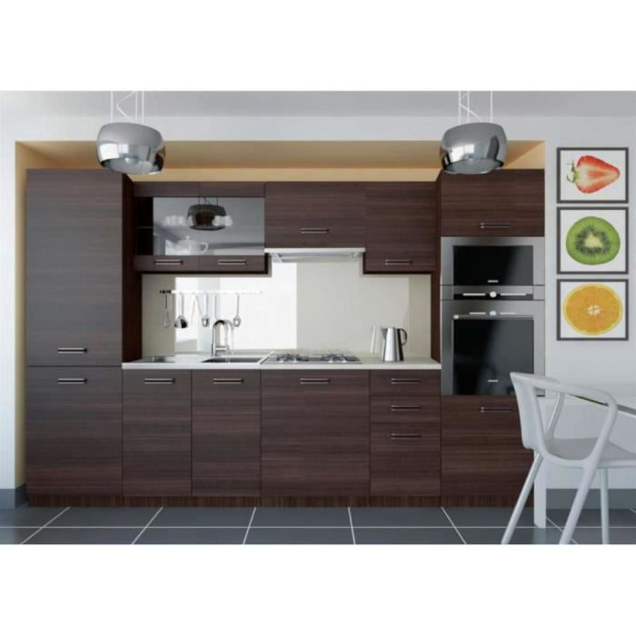 justhome syntka cuisine quip e compl te 300 cm couleur ch ne glamour achat vente cuisine. Black Bedroom Furniture Sets. Home Design Ideas