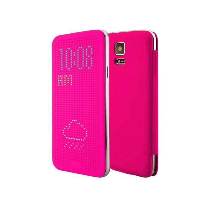 Coque housse samsung galaxy s5 tui flip cover dot view for Housse samsung s5
