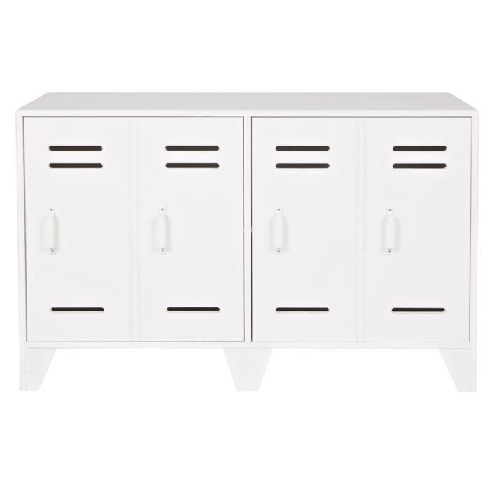 meuble de rangement avec 2 portes en pin blanc h 65 x l 103 x p 40 cm achat vente petit. Black Bedroom Furniture Sets. Home Design Ideas