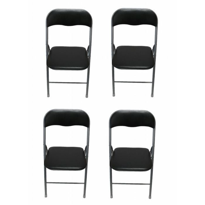lot de 4 chaises pliantes noir achat vente chaise cdiscount. Black Bedroom Furniture Sets. Home Design Ideas