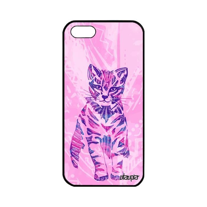 coque apple iphone 5 5s se silicone chat jolie cha