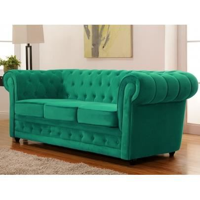 canap 3 places en velours chesterfield vert me achat vente canap sofa divan cdiscount. Black Bedroom Furniture Sets. Home Design Ideas