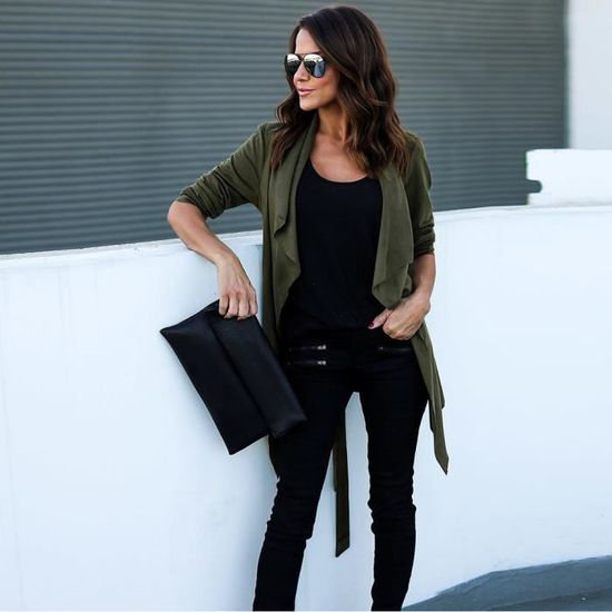 Exquisgift Slim Top Verte Armée Femmes Blazer Xxl71013492 Veste Tops Manteau Outwear Casual Suit a6fOxar