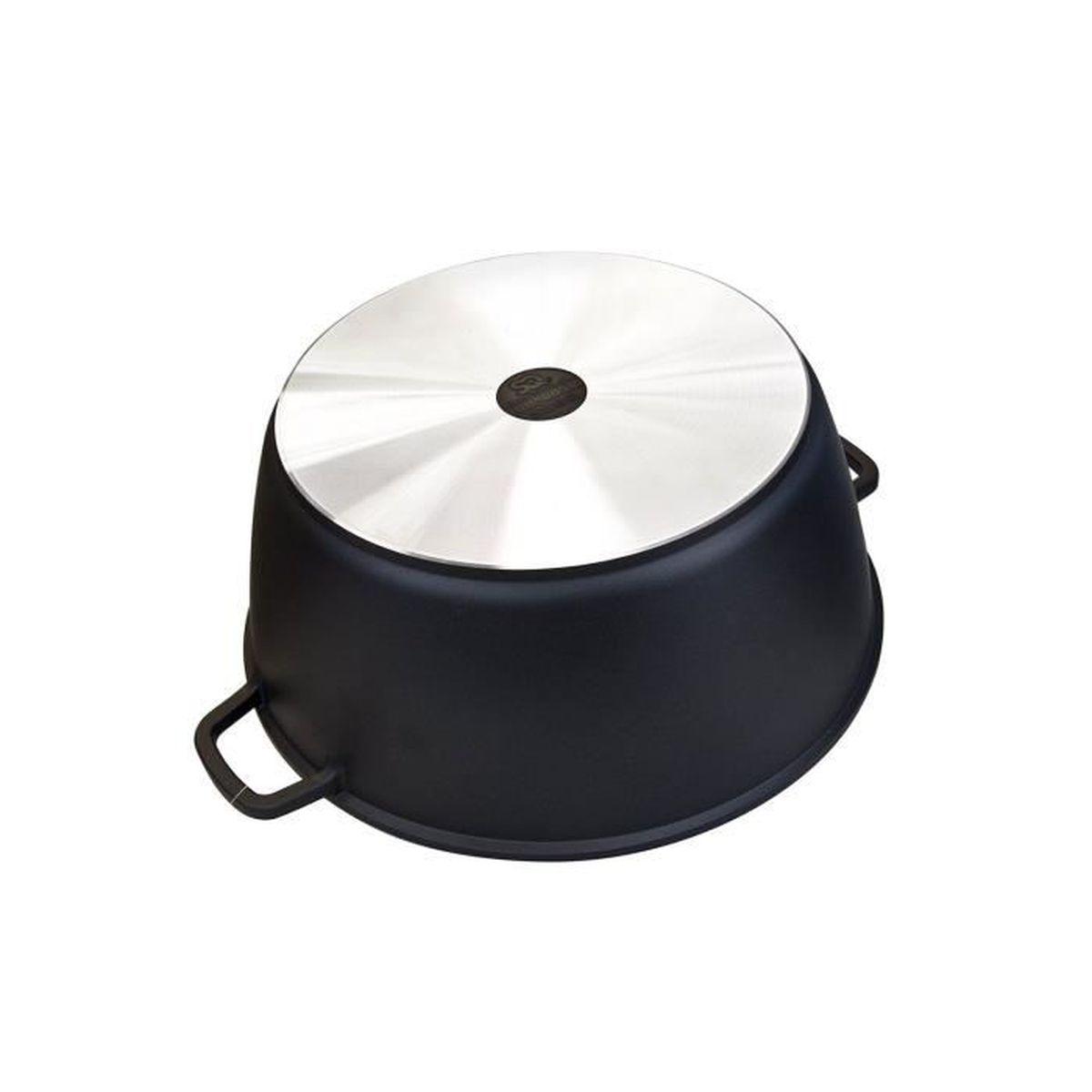 5pc Noir-Revêtement céramique Diecast cocotte Set Induction Batterie De Cuisine Noir