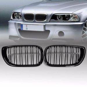 ELENXS Double Ligne en Fibre de Carbone Avant de Voiture en Plastique ABS Grilles pour BMW 2 Grilles de Porte E46 1998-2001