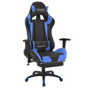CHAISE Chaise de bureau inclinable avec repose-pied Bleu