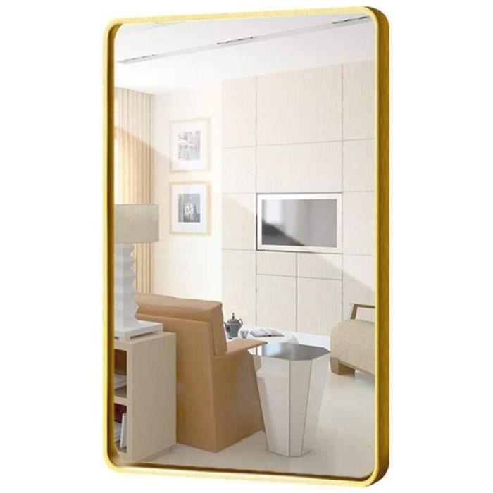 Grand Miroir rectangulaire - Miroir Mural Contemporain &agrave Coins arrondis, Design avec Ca e en m&eacutetal, Miroir en Pan[466]