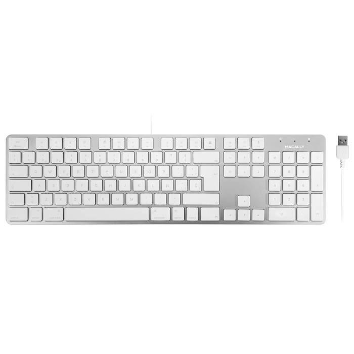 Macally SLIMKEYPROA-ES, Clavier USB-A pour Mac et PC, agencement Espagnol