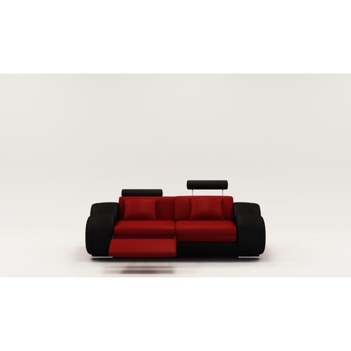 Canapé 2 places design relax OSLO en cuir rouge et noir