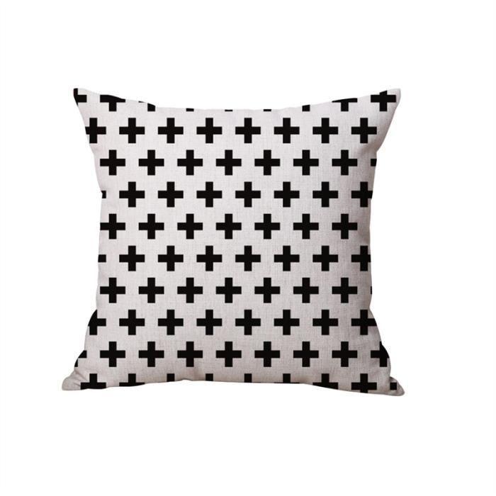 Taie d'oreiller Noir et blanc Taie d'oreiller décorative Housse de coussin pour canapé canapé ferme 45x45cm