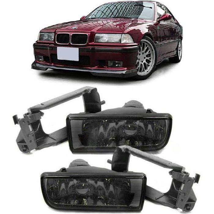 2 ANTIBROUILLARD NOIR TRANSLUCIDE BMW SERIE 3 E36 + SUPPORT ANTIBROUILLARD