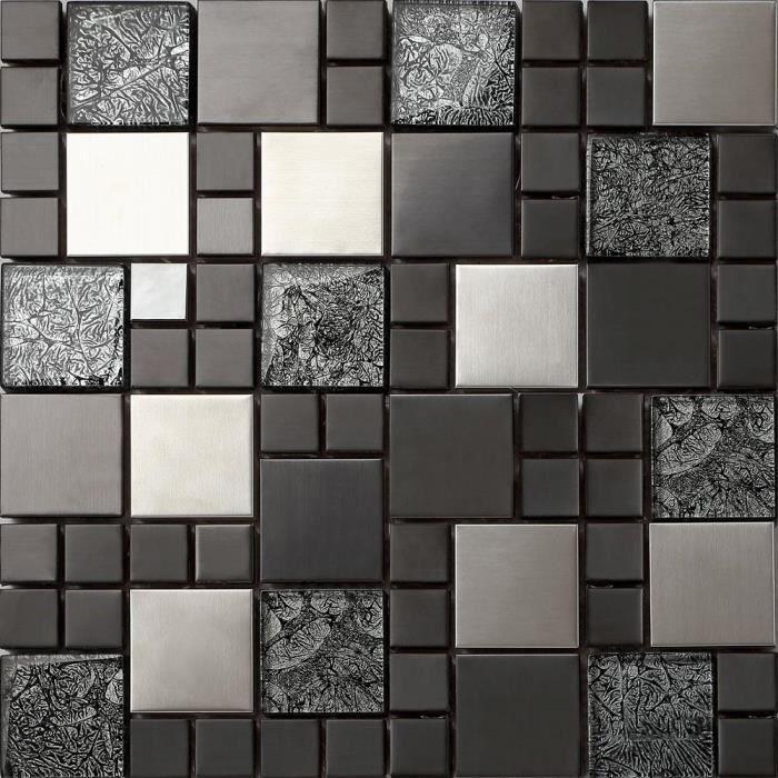 1 m2 Carrelage mosaïque en verre et acier inoxydable. Noir, Argent (MT0002)