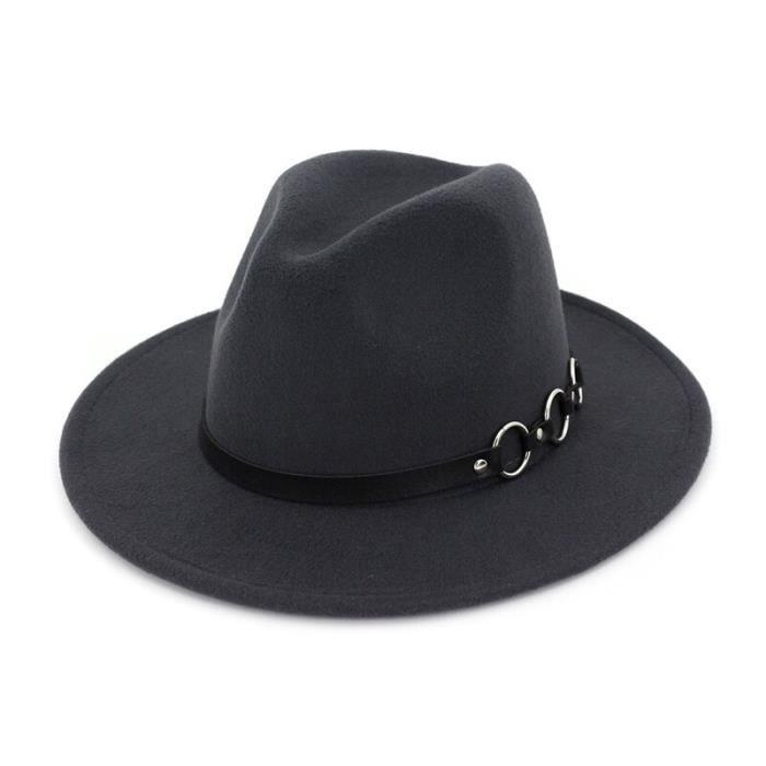 Gris foncé 56to58cm -QBHAT – chapeau en feutre de laine pour femmes et hommes, Style européen, Style Jazz, chapeau à large bord, Pan