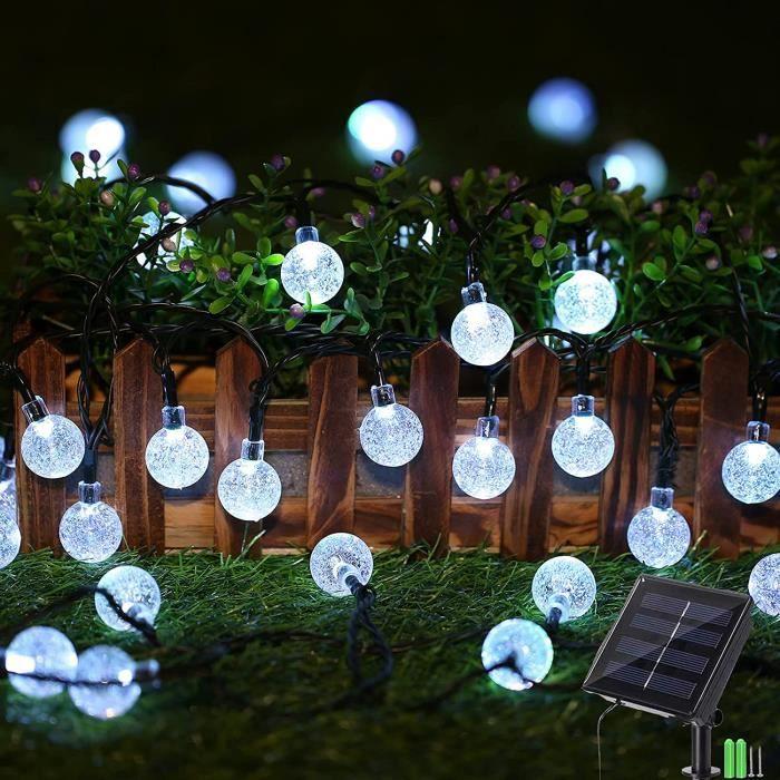 Guirlande Solaire Exterieure, 9M Guirlande Lumineuse Exterieur avec 60 LED Cristal Boules, Guirlande Lumineuse Etanche 8 Modes[10]